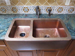 double basin copper farmhouse sink